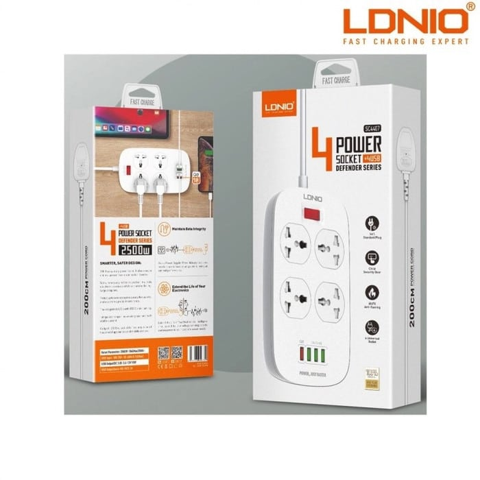 LDNIO SC4407 2-Meter Extension Cord with 4 Socket Outlets and 4 USB + child safty+ QC3.0