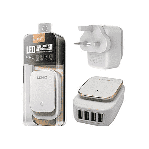 LDNIO A4405 4 ports home charger with LED light + Type-C cable