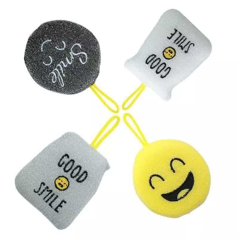 Smiley face cleaning sponge Kit - 4 pieces