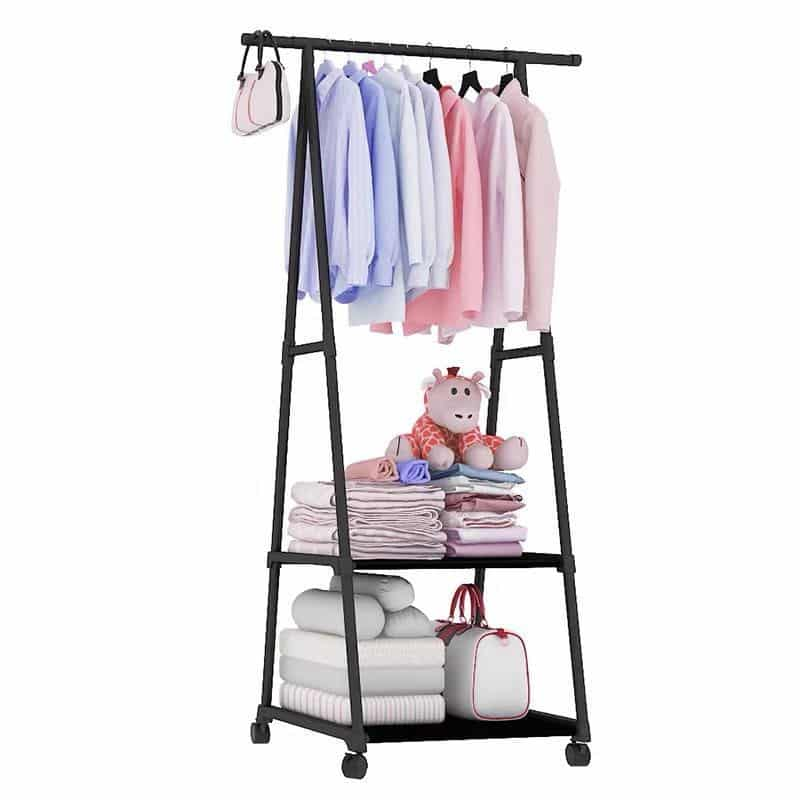 Triangle clothes stand with 2 Shelves – Black