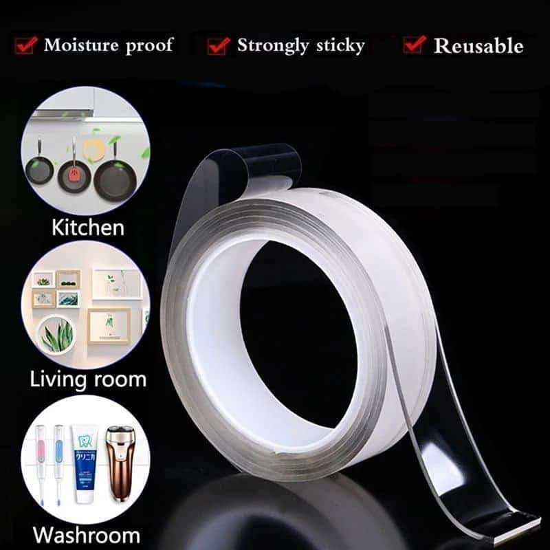 Washable، Reusable Transparent Double Sided Adhesive Tape - 5 meter